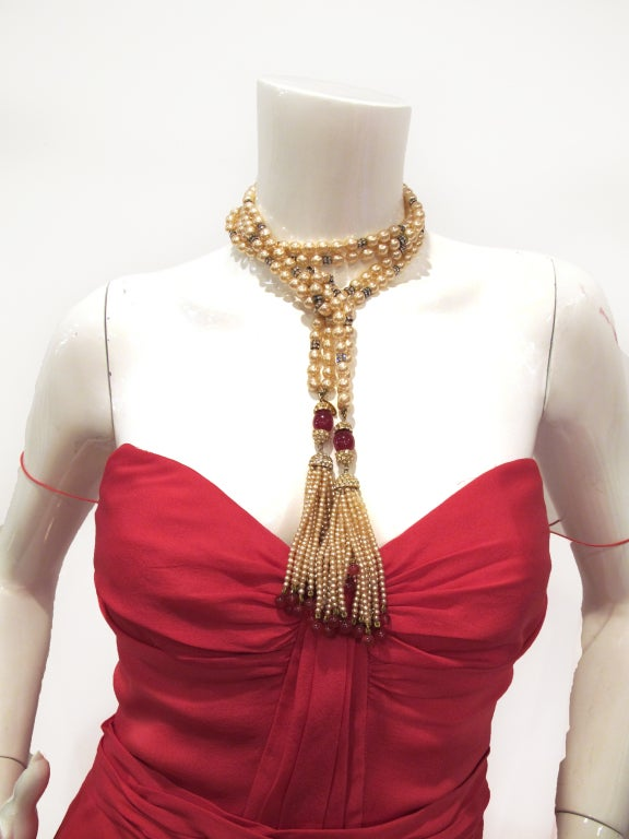 CHANEL necklace with rhinestones and red beads image 7