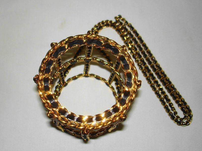 Chanel 94 Black Leather & Gold Metal Bottle Holder For Sale 2