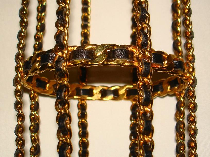 Chanel 94 Black Leather & Gold Metal Bottle Holder For Sale 5