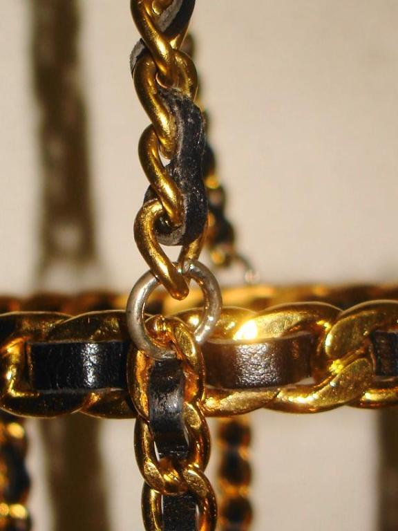 Chanel 94 Black Leather & Gold Metal Bottle Holder For Sale 6
