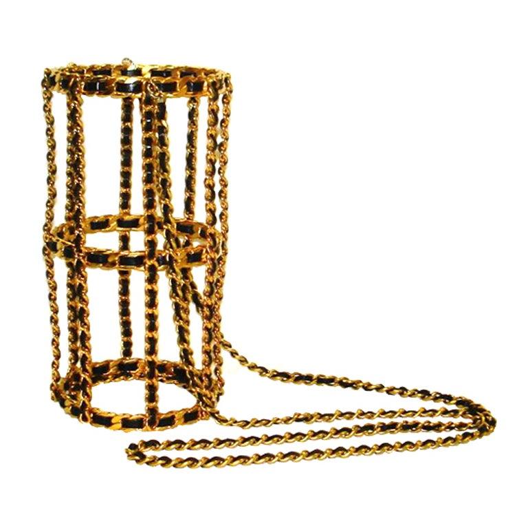 Chanel 94 Black Leather & Gold Metal Bottle Holder For Sale