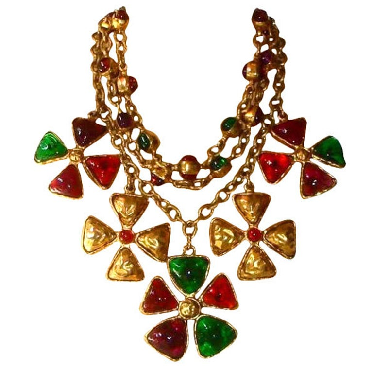 Chanel 70's Gripoix Glass 3-row Maltese Cross Necklace 1
