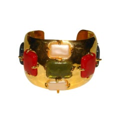 Chanel 97a Multi Color Glass Golden Cuff Bracelet