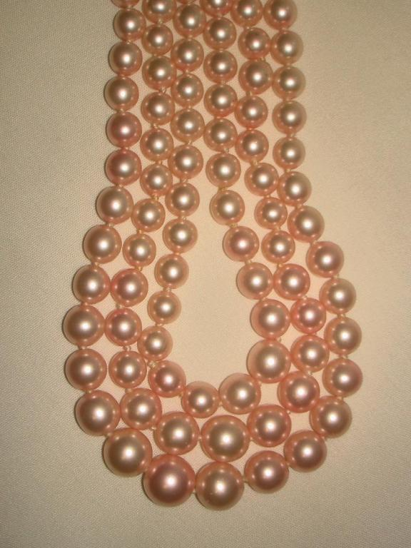 Chanel 3 Row Pink Pearl Camellia Choker Necklace image 5