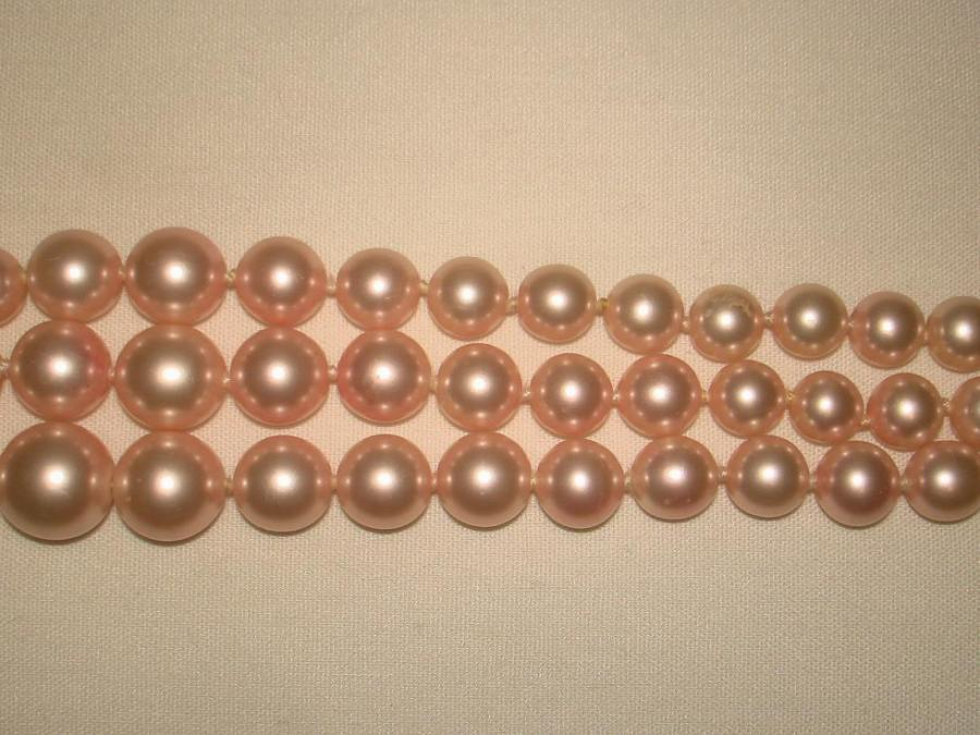 Chanel 3 Row Pink Pearl Camellia Choker Necklace image 6