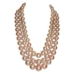 Chanel 3 Row Pink Pearl Camellia Choker Necklace