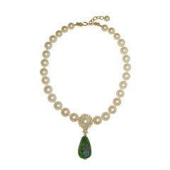 Vintage Chanel White Pearl Necklace W Green Glass