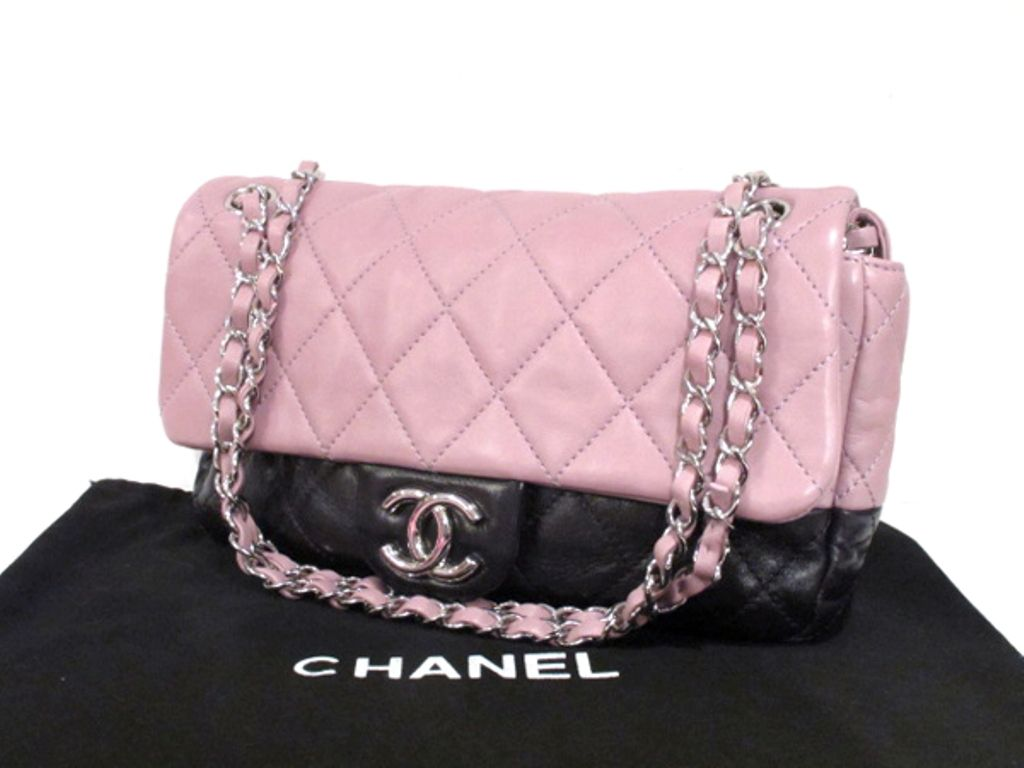 Chanel Purple Mauve Two Tone Quilted Leather Flap Bag 10