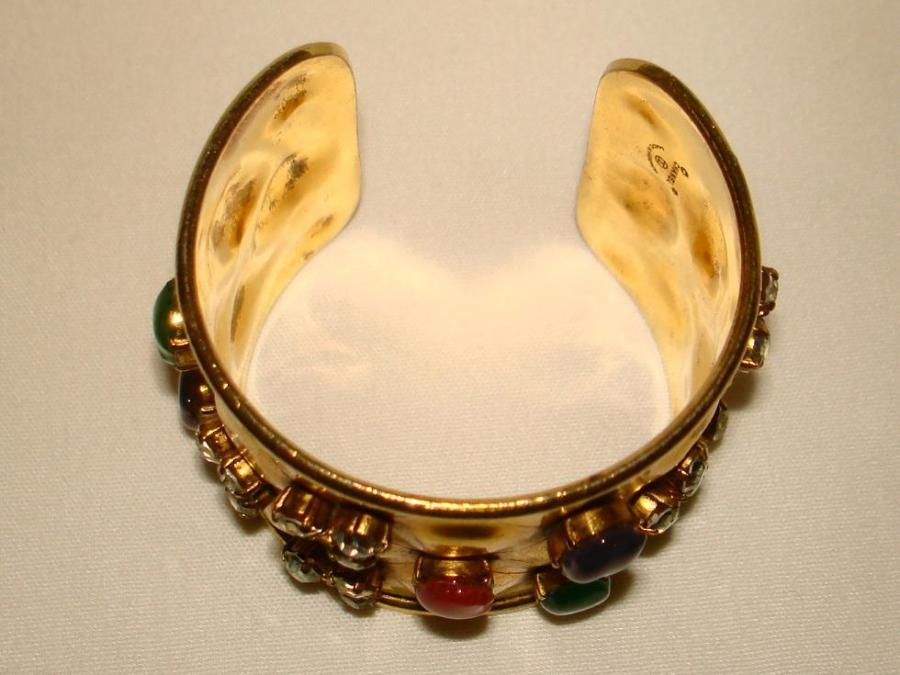 Chanel Multi Poured Glass Golden Cuff Bracelet For Sale At