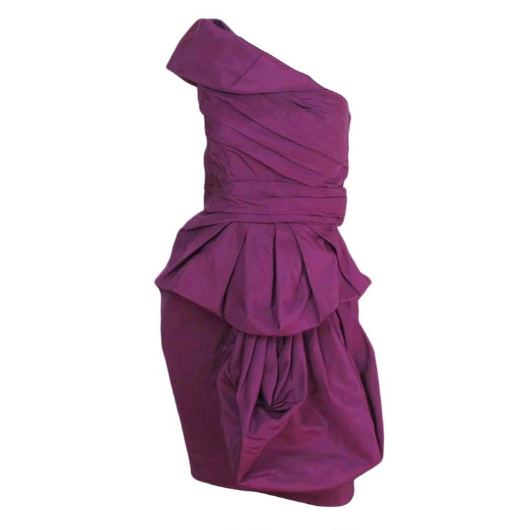 Oscar De La Renta Magenta Cocktail Dress - Size 6 at 1stdibs