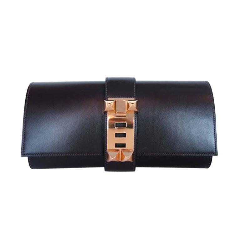 Hermes Brown Box Leather Medor Celebrity Clutch At 1stdibs