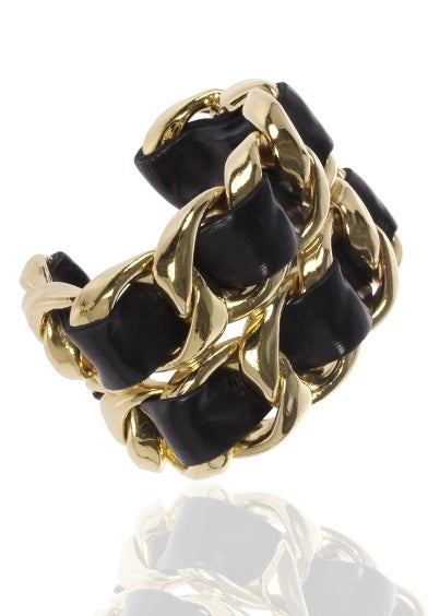 Leather Laced Chanel Golden Cuff image 4