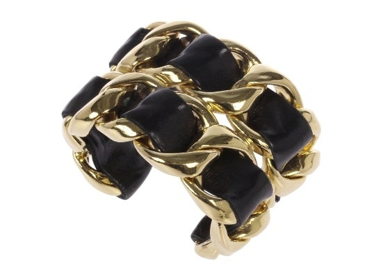 Leather Laced Chanel Golden Cuff image 5