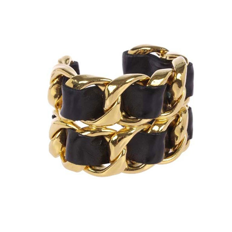 Leather Laced Chanel Golden Cuff