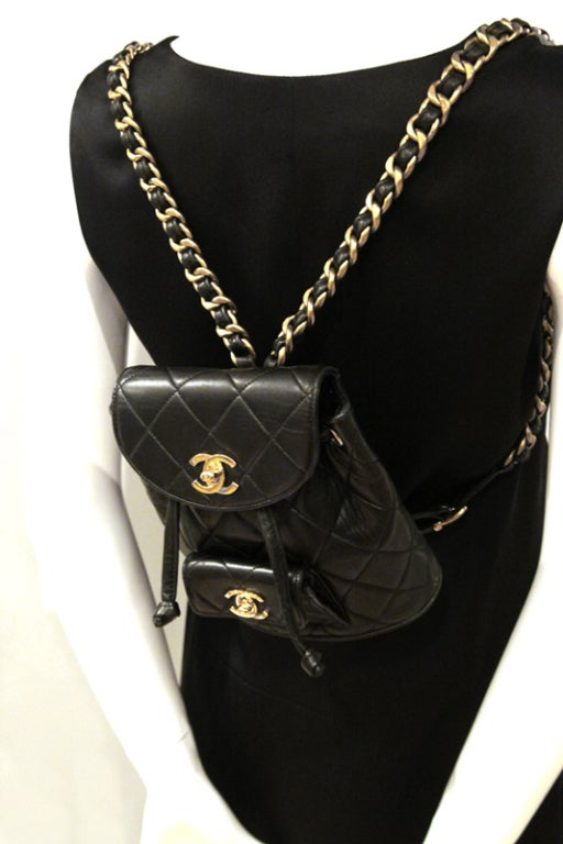 Chanel Black Quilted Lambskin Mini Backpack 10