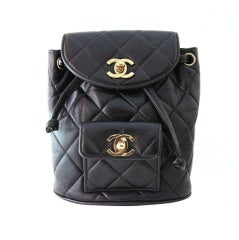Chanel Black Quilted Lambskin Mini Backpack