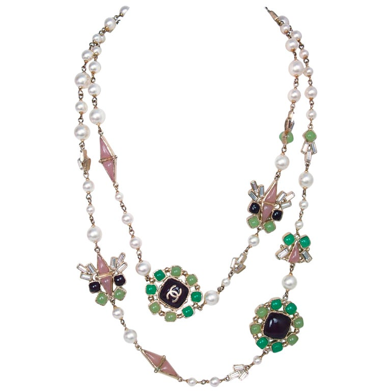 Chanel Pearl & Multi-Colored Glass Bead Long Necklace 1
