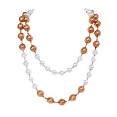 Chanel White/Gold Pearl Double Strand Necklace