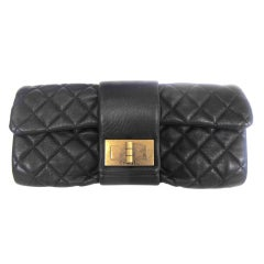 CHANEL Black Quilted Leather Clutch