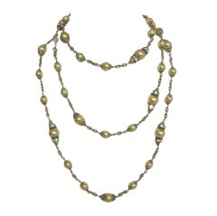 CHANEL Three Star Couture Goosens Gold Pearl Necklace