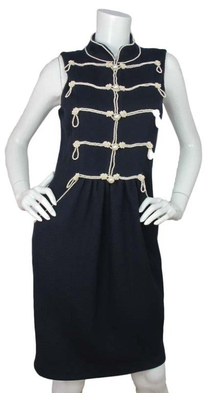 CHANEL Navy Sleeveless Dress With Pearls 2