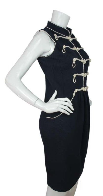 CHANEL Navy Sleeveless Dress With Pearls 3