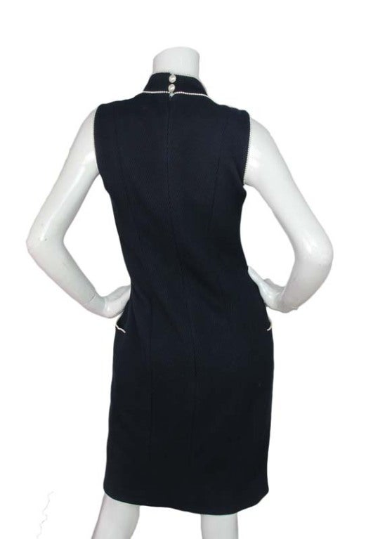 CHANEL Navy Sleeveless Dress With Pearls 4