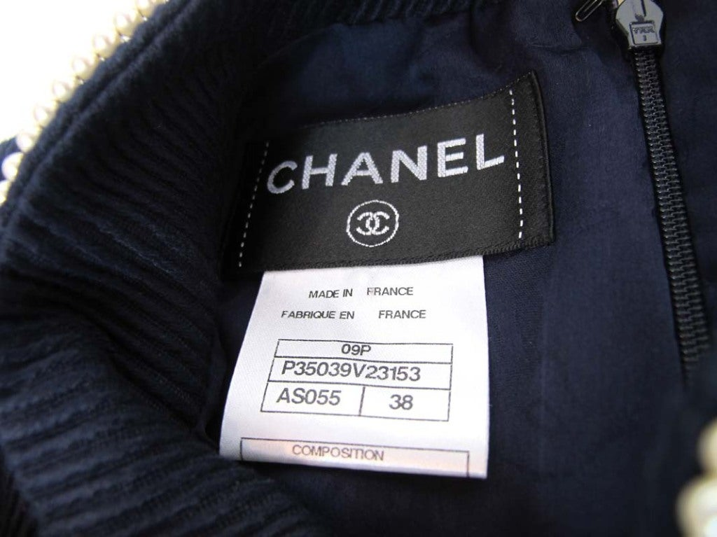 CHANEL Navy Sleeveless Dress With Pearls 6