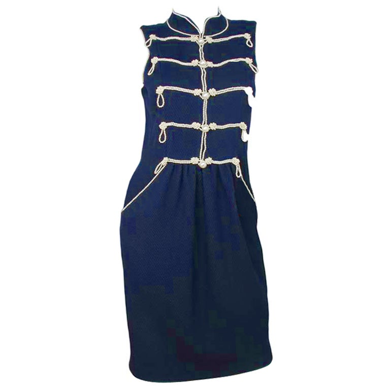 CHANEL Navy Sleeveless Dress With Pearls 1