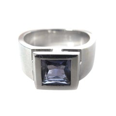 HERMES 18K White Gold Ring With Amethyst Size - 6.5