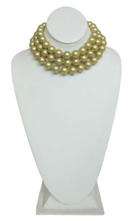 Chanel Gold Three Strand Pearl Necklace 1987 2