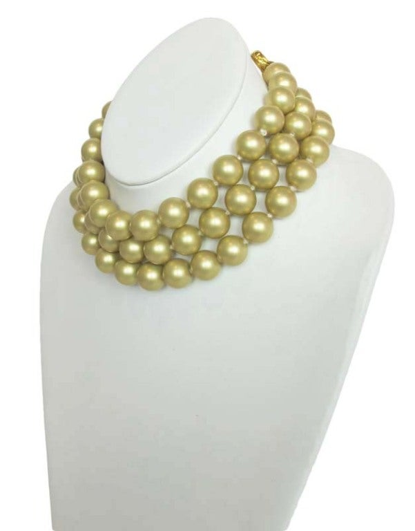 Chanel Gold Three Strand Pearl Necklace 1987 3