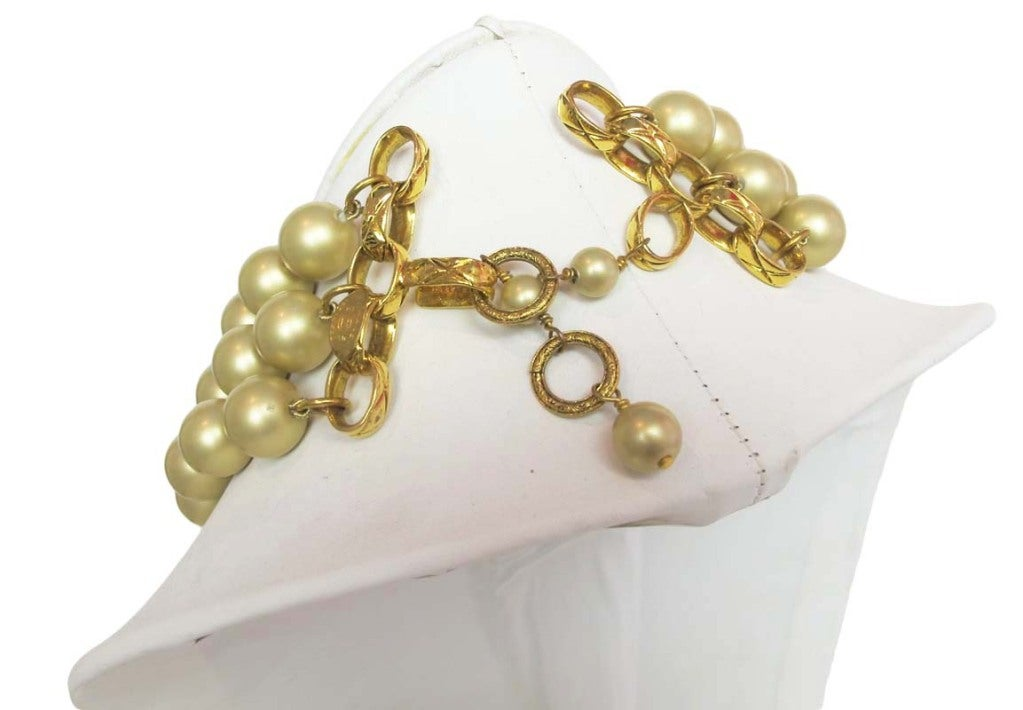 Chanel Gold Three Strand Pearl Necklace 1987 4