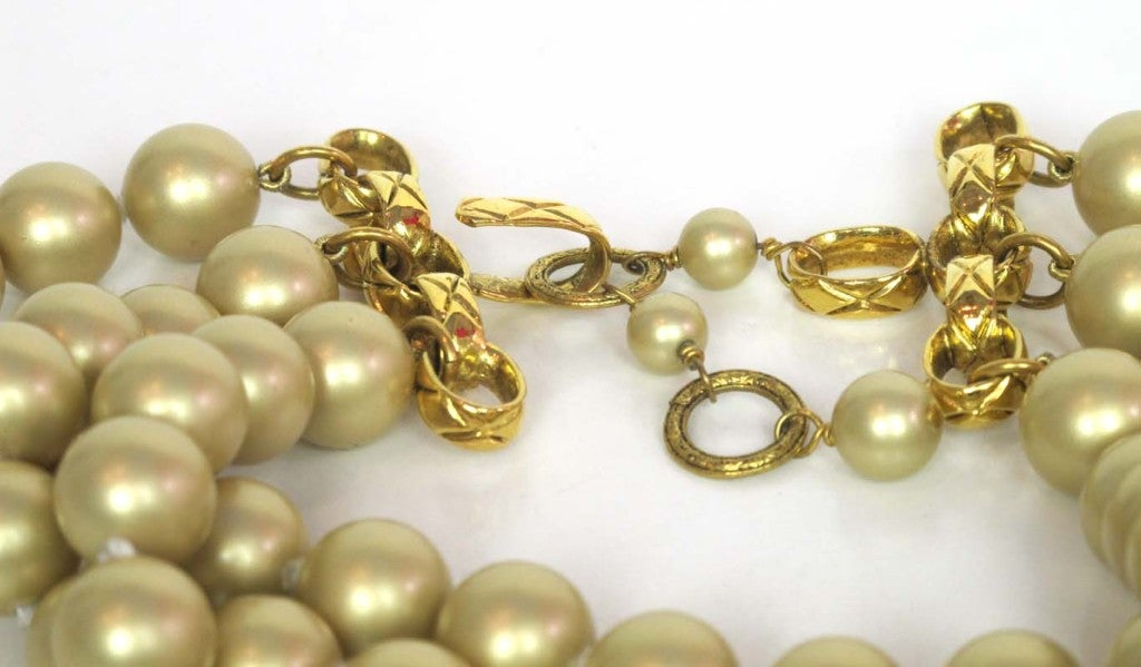 Chanel Gold Three Strand Pearl Necklace 1987 5