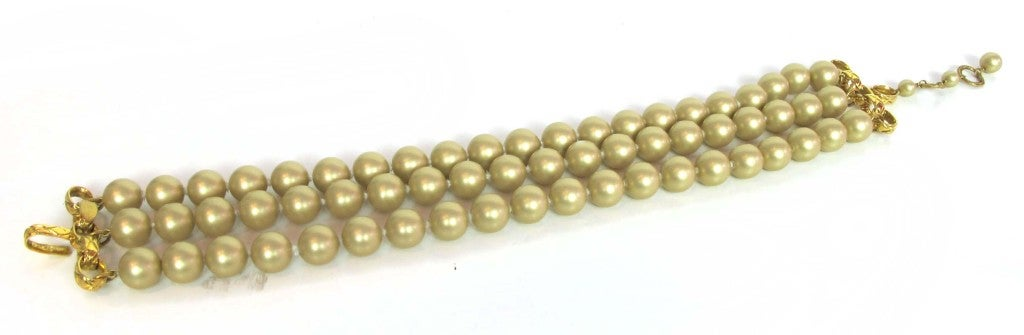 Chanel Gold Three Strand Pearl Necklace 1987 6