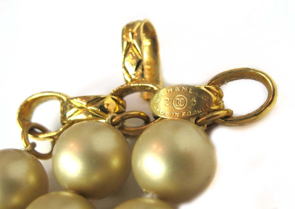 Chanel Gold Three Strand Pearl Necklace 1987 7