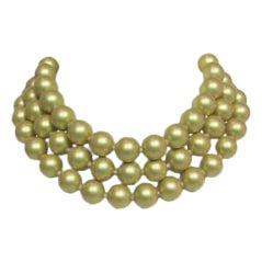 Chanel Gold Three Strand Pearl Necklace 1987