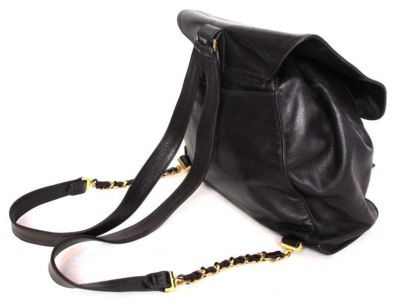 CHANEL Black Leather Backpack With Gold Hardware image 4