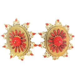 Chanel Red/Gold Vintage Earrings