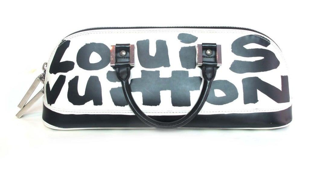 """LOUIS VUITTON Black/White Canvas Long """"ALMA"""" Bag 2"""