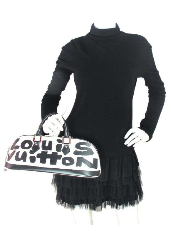 """LOUIS VUITTON Black/White Canvas Long """"ALMA"""" Bag 10"""