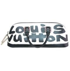 """LOUIS VUITTON Black/White Canvas Long """"ALMA"""" Bag"""