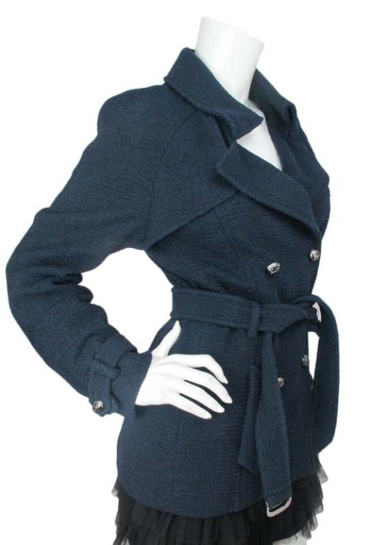 CHANEL Blue Tweed Jacket With Belt 3