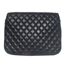 CHANEL Black Quilted Leather Cross Body Bag With Gold Hardware