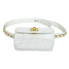 CHANEL White Crocodile Leather Belt Bag