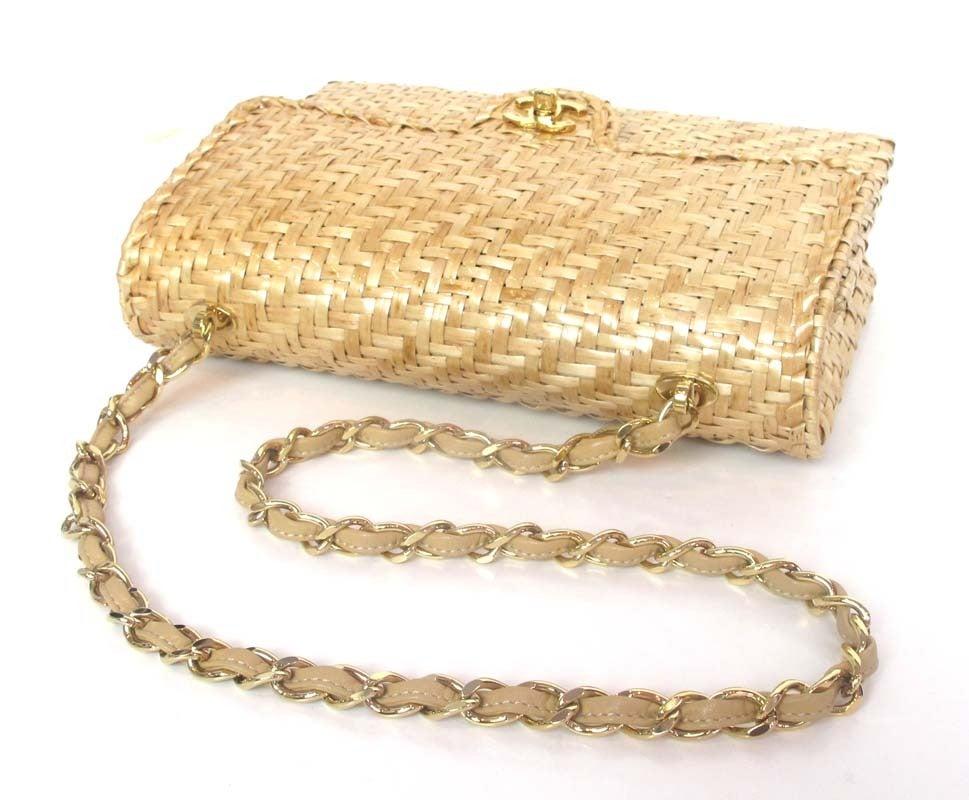 CHANEL Beige Woven Raffia Shoulder Bag 4
