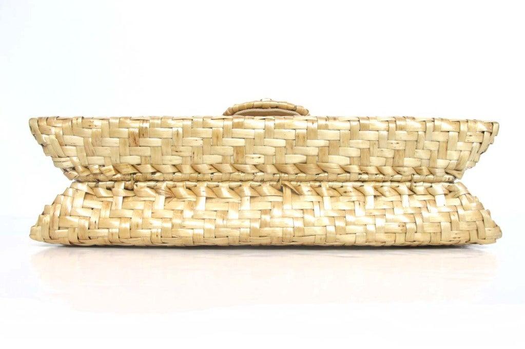 CHANEL Beige Woven Raffia Shoulder Bag 5