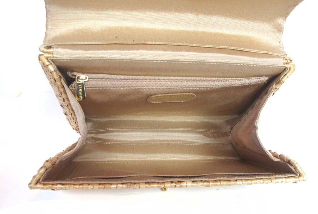 CHANEL Beige Woven Raffia Shoulder Bag 6