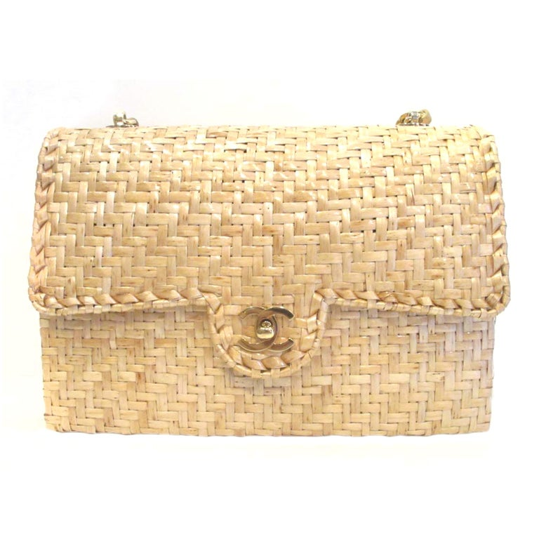 Chanel Beige Woven Raffia Shoulder Bag For