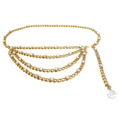 CHANEL Gold Chain Belt With Crystals